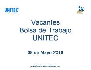 Vacantes Bolsa de Trabajo UNITEC