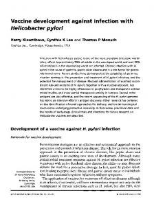 Vaccine development against infection with Helicobacter pylori