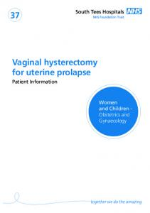 Vaginal hysterectomy for uterine prolapse