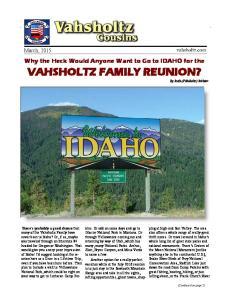 VAHSHOLTZ FAMILY REUNION? By Ruth (Vahsholtz) Richter