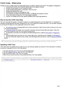VAIO Care - Welcome. How to Use the VAIO Care Help. Updating VAIO Care