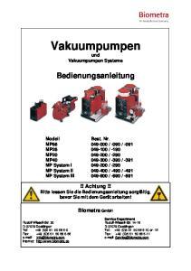 Vakuumpumpen und Vakuumpumpen Systeme