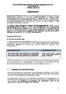 Valartis Asset Management (Austria) Kapitalanlagegesellschaft m.b.h. Rathausstraße Wien, Österreich. Anlegerinformation