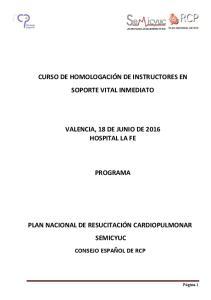 VALENCIA, 18 DE JUNIO DE 2016 HOSPITAL LA FE PROGRAMA