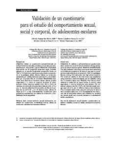 Validación de un cuestionario para el estudio del comportamiento sexual, social y corporal, de adolescentes escolares