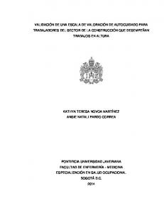 VALIDACIÓN DE UNA ESCALA DE VALORACIÓN DE AUTOCUIDADO PARA TRABAJADORES DEL SECTOR DE LA CONSTRUCCIÓN QUE DESEMPEÑAN TRABAJOS EN ALTURA