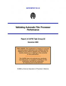Validating Automatic Film Processor Performance