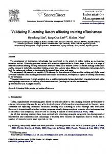 Validating E-learning factors affecting training effectiveness