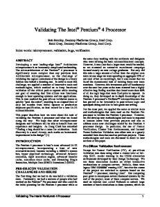 Validating The Intel Pentium 4 Processor