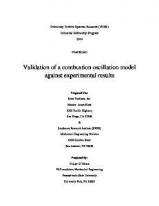 Validation of a combustion oscillation model against experimental results