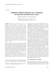 Validation of Blood Testing for K-ras Mutations in Colorectal and Pancreatic Cancer