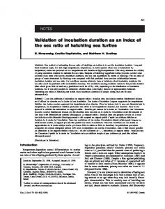 Validation of incubation duration as an index of the sex ratio of hatchling sea turtles