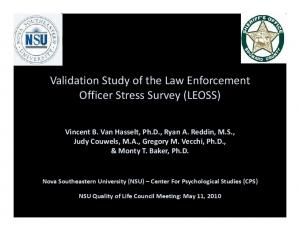 Validation Study of the Law Enforcement Officer Stress Survey (LEOSS)