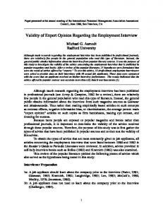 Validity of Expert Opinion Regarding the Employment Interview