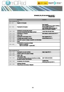 Valladolid, 28 y 29 de noviembre de 2011 PROGRAMA