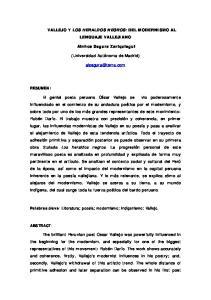 VALLEJO Y LOS HERALDOS NEGROS: DEL MODERNISMO AL LENGUAJE VALLEJIANO. Ainhoa Segura Zariquiegui. (Universidad Autónoma de Madrid)