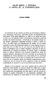 VALOR MORAL Y PERSONA, A PARTIR DE LA FENOMENOLOGIA
