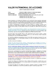 VALOR PATRIMONIAL DE LAS ACCIONES