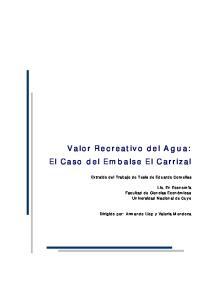 Valor Recreativo del Agua: El Caso del Embalse El Carrizal