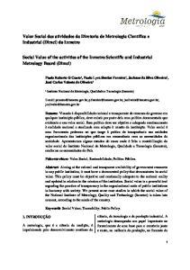 Valor Social das atividades da Diretoria de Metrologia Científica e Industrial (Dimci) do Inmetro