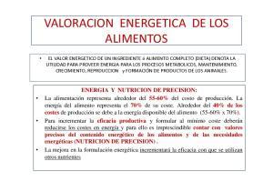 VALORACION ENERGETICA DE LOS ALIMENTOS