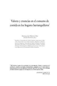 Valores y creencias en el consumo de comida en los hogares barranquilleros *