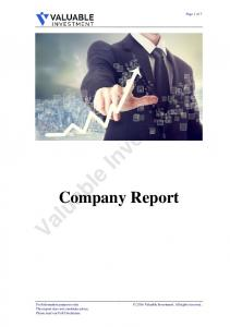 Valuable Investment. Company Report. Page 1 of 7