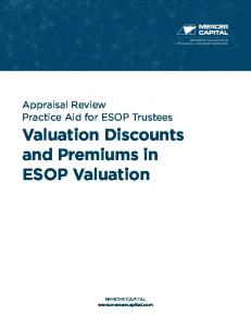 Valuation Discounts and Premiums in ESOP Valuation