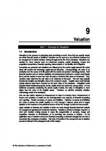 Valuation. Unit 1 : Concept of Valuation. 1.1 Introduction