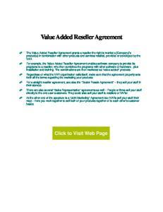 Value Added Reseller Agreement