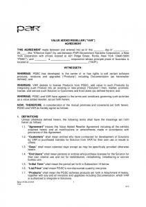 VALUE ADDED RESELLER ( VAR ) AGREEMENT