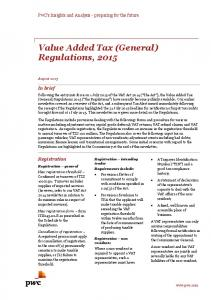 Value Added Tax (General) Regulations, 2015