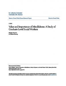 Value and Importance of Mindfulness: A Study of Graduate Level Social Workers