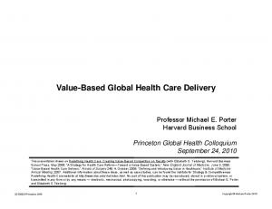 Value-Based Global Health Care Delivery