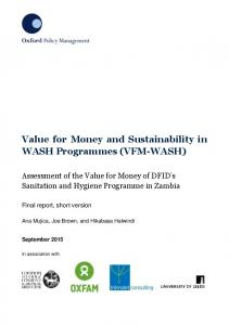 Value for Money and Sustainability in WASH Programmes (VFM-WASH)