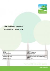 Value for Money Statement Year ended 31 st March 2016