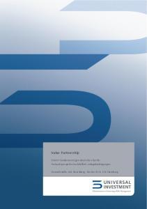Value Partnership. OGAW-Sondervermögen deutschen Rechts Verkaufsprospekt einschließlich Anlagebedingungen