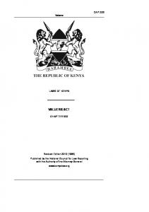 VALUERS ACT CHAPTER 532 CAP Valuers LAWS OF KENYA