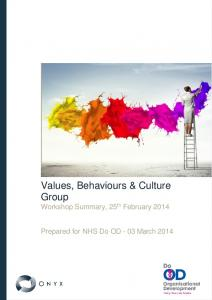 Values, Behaviours & Culture Group Workshop Summary, 25 th February 2014