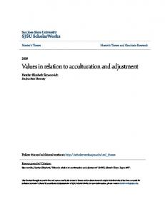 Values in relation to acculturation and adjustment