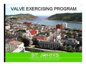 VALVE EXERCISING PROGRAM DEPARTMENT OF PUBLIC WORKS & PARKS ENVIRONMENTAL SERVICES DIVISION