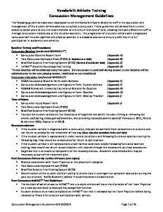 Vanderbilt Athletic Training Concussion Management Guidelines