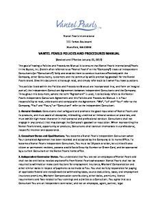 VANTEL PEARLS POLICIES AND PROCEDURES MANUAL