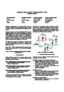 VARIABLE SPEED DRIVE REGENERATIVE TYPE - LESSONS LEARNT -