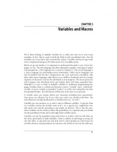 Variables and Macros CHAPTER 3. Chapter 3