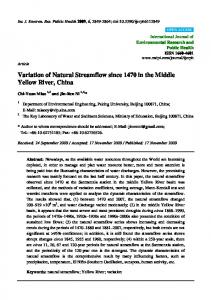 Variation of Natural Streamflow since 1470 in the Middle Yellow River, China