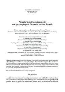 Vascular density, angiogenesis and pro-angiogenic factors in uterine fibroids