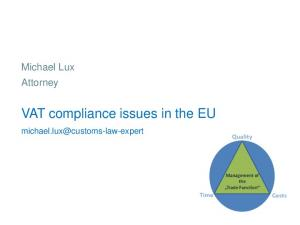 VAT compliance issues in the EU