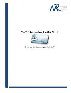 VAT Information Leaflet No. 1. Goods and Services exempted from VAT