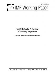 VAT Refunds: A Review of Country Experience